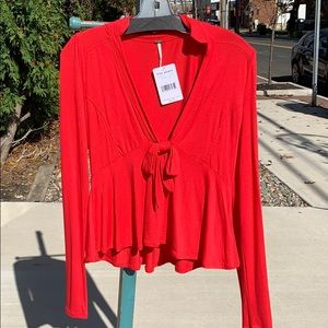 Academy red free people long sleeve